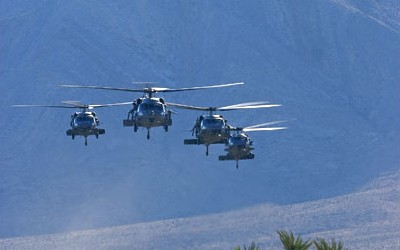 Blackhawk formation 01 - Nevada desert
